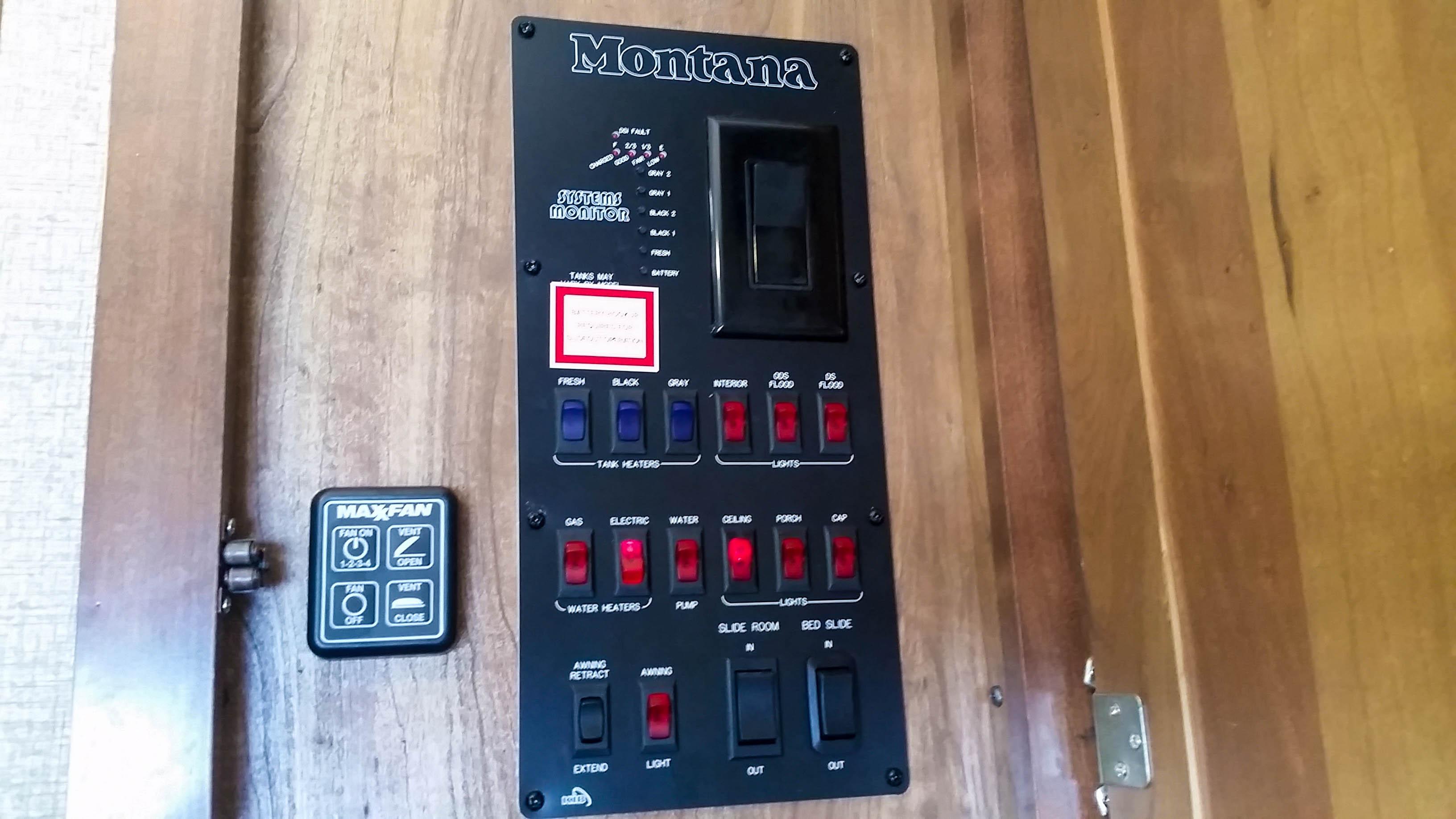 RV Control Panel Explained Montana 3402RL 2015 2016